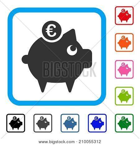 Euro Piggy Bank icon. Flat gray pictogram symbol inside a light blue rounded squared frame. Black, gray, green, blue, red, orange color variants of Euro Piggy Bank vector.