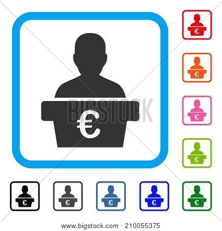 Euro Politician icon. Flat grey iconic symbol inside a light blue rounded rectangular frame. Black, gray, green, blue, red, orange color additional versions of Euro Politician vector.