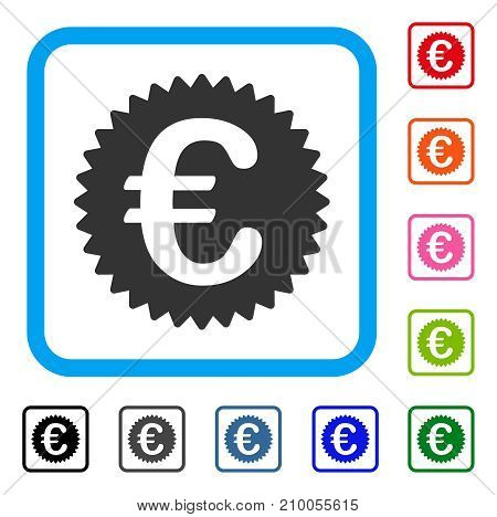 Euro Reward Seal icon. Flat grey iconic symbol in a light blue rounded frame. Black, gray, green, blue, red, orange color variants of Euro Reward Seal vector. Designed for web and app UI.
