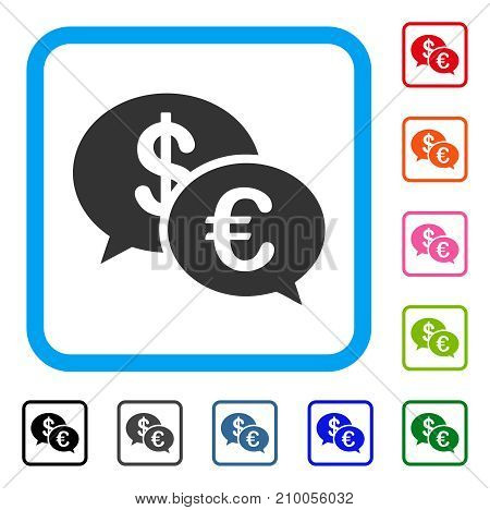 Euro Transaction Messages icon. Flat grey pictogram symbol inside a light blue rounded frame. Black, gray, green, blue, red, orange color versions of Euro Transaction Messages vector.