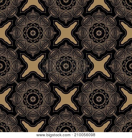 Abstract seamless pattern on black background. Hand drawn vector illustration