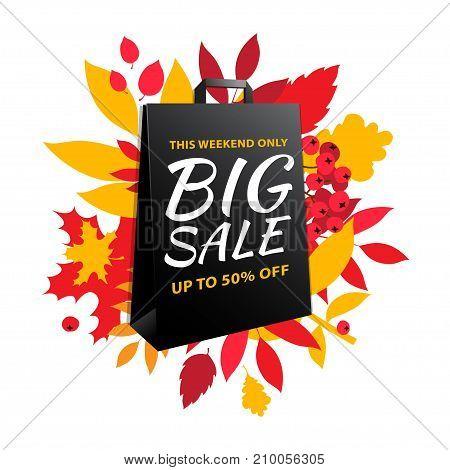 Big Autumn Sale Inscription Design. Fall Leaves Black Paper Bag