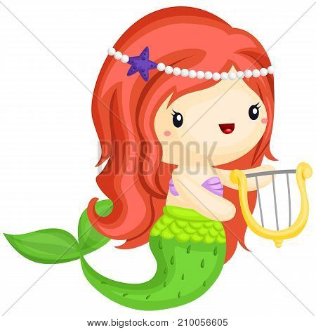 a happy mermaid playing harp with her hand