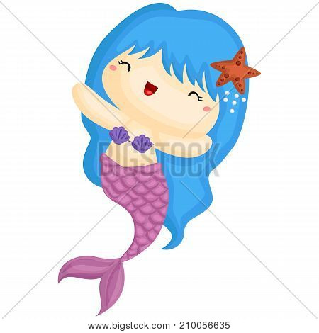 a blue colored hair mermaid smiling happily