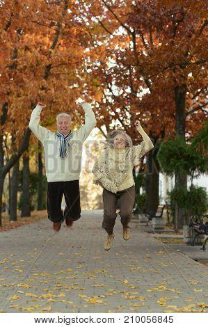 Senior couple having fun in autumnal park