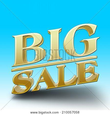 Big American Holiday Sale, Blue gradient, Shiny Golden Text, 3D Illustration