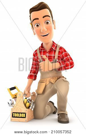 3d handyman with toolbox and thumb up illustration with isolated white background