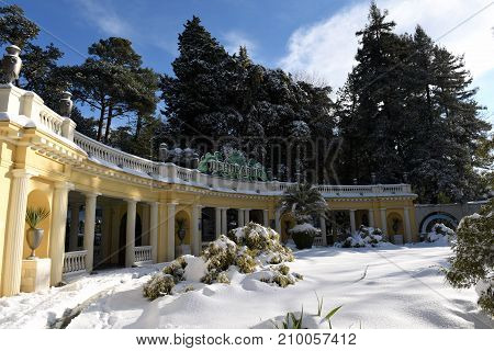 January 31, 2017, Sochi, Russia. The main entrance to the arboretum Park was covered with snow. It is the largest and most beautiful Park in the South of Russia.