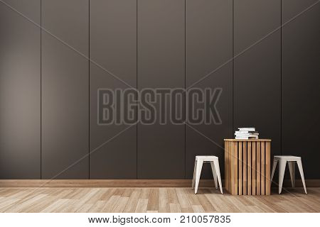 Vertical Grove line wall with modern table set. 3D illustration