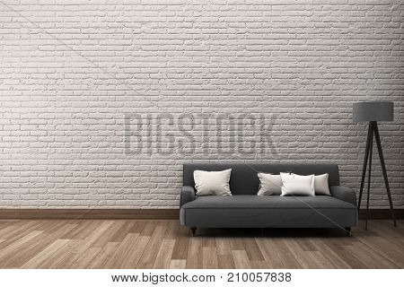 White rough brick wall & wooden floor with sofa. 3D-Rendering