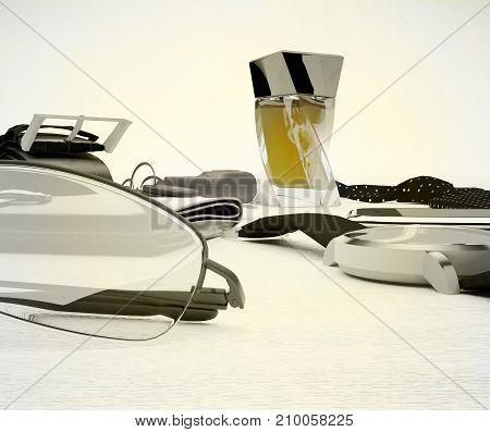 Gentleman kit - men's fashion accessories on light background. 3D illustration