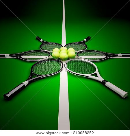 Tennis rackets with ball on hard surface court. Square. Tennis backgrounds. 3D illustration