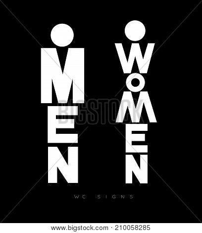 Toilet door plate lettering men and women drawing with white on black background
