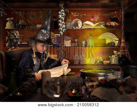 The wizard of room. Little girl in witch hat reads a big book of spells. Many mystical items. The concept of magic Halloween