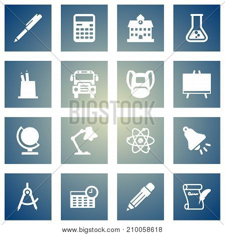 Collection Of Writing, Pen Holder, Globe And Other Elements.  Set Of 16 Knowledge Icons Set.