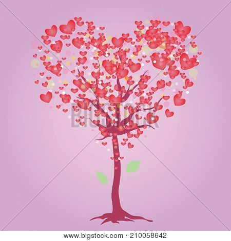 colorful illustration with heart symbol tree isolated on pink background