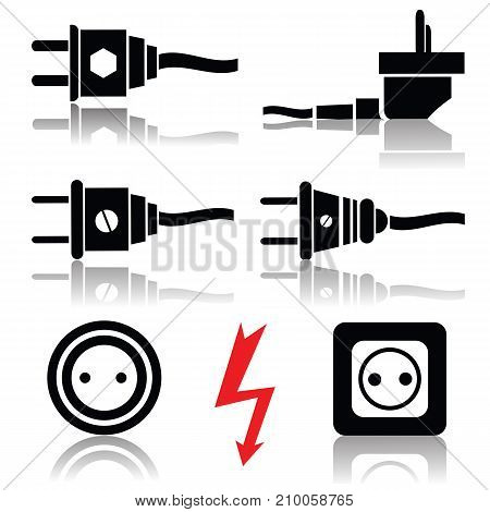 Illustration with plugs and sockets isolated on white background