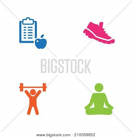 Collection Of Regime, Meditate, Weightlifting And Other Elements.  Set Of 4 Training Icons Set.