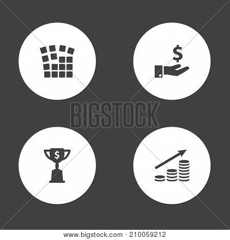 Collection Of Money Growth, Sponsor, Goblet And Other Elements.  Set Of 4 Startup Icons Set.