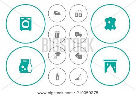 Collection Of Ironing, Washing Powder, Washhouse And Other Elements.  Set Of 12 Cleanup Icons Set.