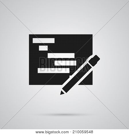 Vector Writing Element In Trendy Style.  Isolated Planning Icon Symbol On Clean Background.