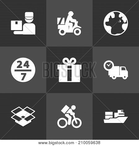 Collection Of Parcel, World, Present And Other Elements.  Set Of 9 Shipping Icons Set.