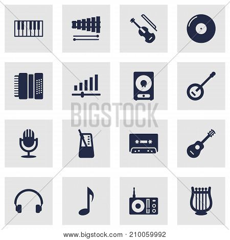 Collection Of Acoustic, Amplifier, Retro Disc And Other Elements.  Set Of 16 Song Icons Set.