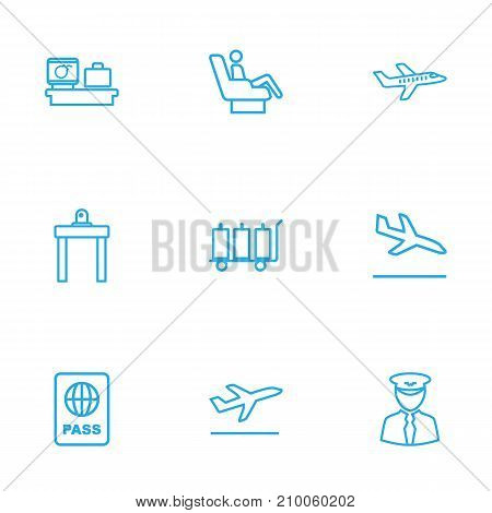 Collection Of Luggage Check, Sit, Luggage Trolley And Other Elements.  Set Of 9 Plane Outline Icons Set.