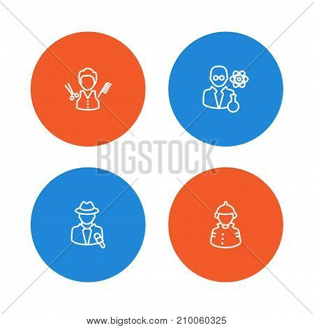 Collection Of Firefighter, Barber, Reporter And Other Elements.  Set Of 4 Professions Outline Icons Set.