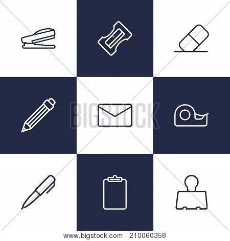Collection Of Drawing, Eraser, Sticky And Other Elements.  Set Of 9 Stationery Outline Icons Set.