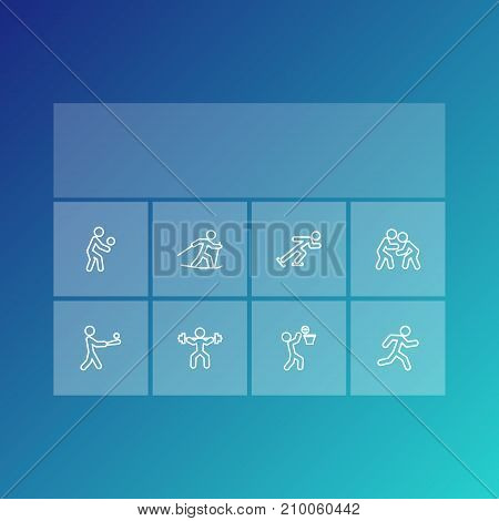 Collection Of Run, Fight, Ice Skating And Other Elements.  Set Of 8 Athletic Outline Icons Set.