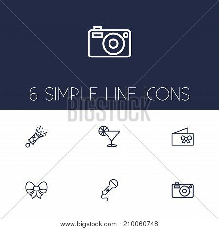 Collection Of Firecrackers, Cocktail, Microphone And Other Elements.  Set Of 6 Cheerful Outline Icons Set.