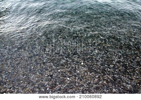Sea Pebble - Gravel Beach In Sunlight, Selective Focus For Background.