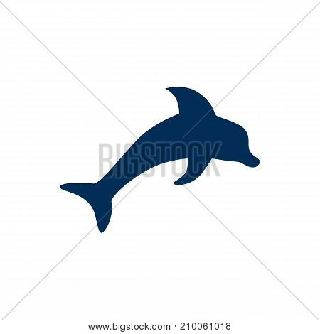 Isolated Dolphin Icon Symbol On Clean Background.