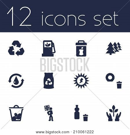 Collection Of Junk, Protection, Energy And Other Elements.  Set Of 12 Bio Icons Set.