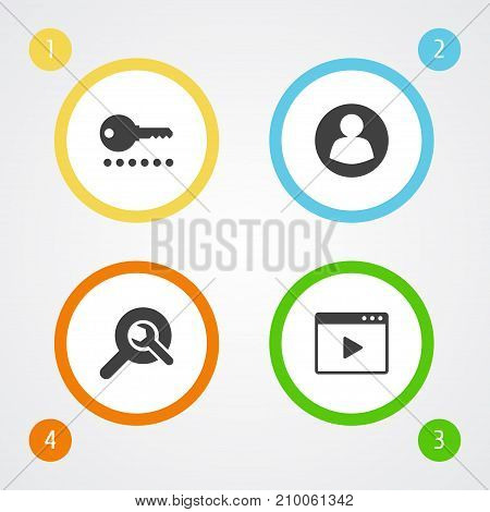 Collection Of Guest, Password, Search And Other Elements.  Set Of 4 Search Icons Set.