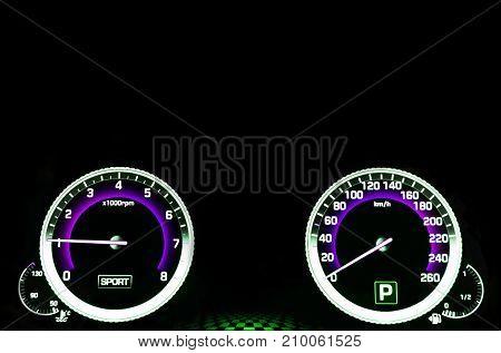 Modern car dashboard. Car interior details. close up