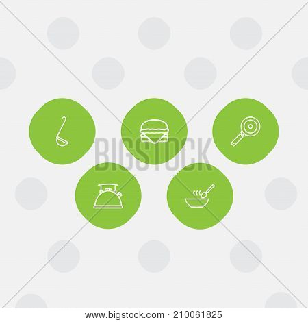 Collection Of Kettle, Hamburger, Soup And Other Elements.  Set Of 5 Culinary Outline Icons Set.