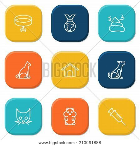 Collection Of Kennel, Pile Of Poo, Medal And Other Elements.  Set Of 9 Animals Outline Icons Set.