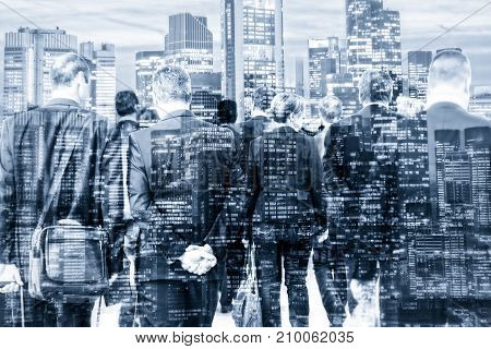 Composing with a group of businessmen and various skyscrapers