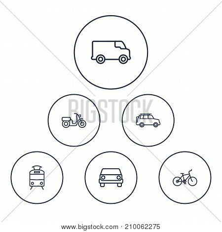 Collection Of Moped, Suv, Bike And Other Elements.  Set Of 6 Traffic Outline Icons Set.