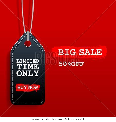 Black friday sale tag with discount on red background.