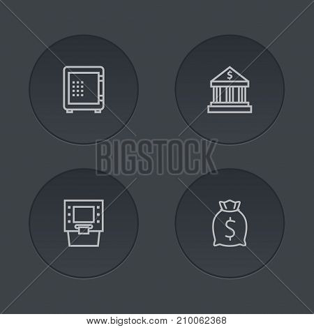 Collection Of Moneybag, Bank, Atm And Other Elements.  Set Of 4 Budget Outline Icons Set.