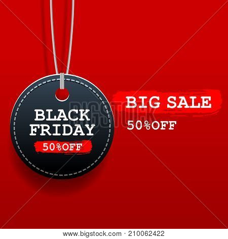 Black friday sale round tag with discount on red background.