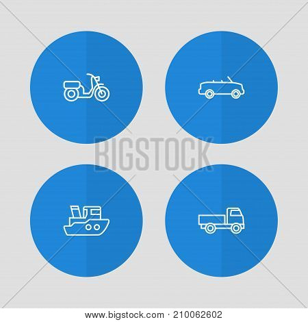 Collection Of Moped, Cabriolet, Ship And Other Elements.  Set Of 4 Shipping Outline Icons Set.