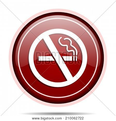 No smoking red glossy round web icon. Circle isolated internet button for webdesign and smartphone applications.