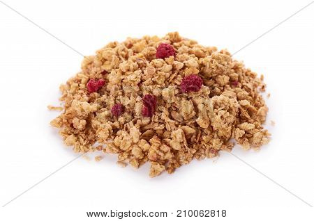 Homemade Granola With Dried Fruits Isolated On White Background