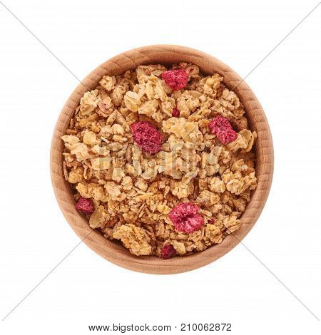 Homemade Granola With Dried Fruits In Wooden Pot Isolated On White Background
