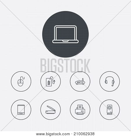 Collection Of Notebook, Speaker, Modem And Other Elements.  Set Of 9 Laptop Outline Icons Set.