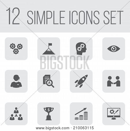 Collection Of Meeting, Achievement, Vision And Other Elements.  Set Of 12 Idea Icons Set.
